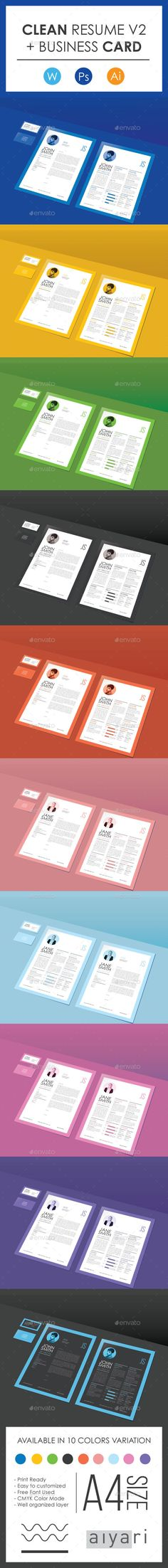 Clean CV & Resume V2 with Business Card