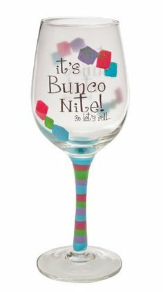 """Barware, Bunco Nite,Handpainted Wine Glass 12 oz,Glass,3.5x9 Inches by Cypress Home. $14.88. The size is: 3.5""""x9"""". Packaged in attractive gift box. Hand wash only. Perfect gift for the wine enthusiast. Hand-painted clear wine glass. Feisty and unexpected just like you, this wine glass is eye-catching. With dramatic flair, it declares, """"It's Bunco Nite! So let's roll..."""" Surrounded by dice and a long striped stem, the Bunco Nite Wine Glass is perfectly designed ..."""