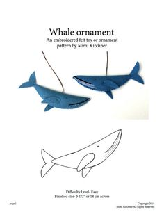 Whale Ornament pdf Pattern Tutorial Felt toy by MimiKirchner Basic Embroidery Stitches, Cross Stitch Embroidery, Embroidery Patterns, Cross Stitch Patterns, Diy Christmas Ornaments, Felt Ornaments, Handmade Christmas, Christmas Tree, Sewing Crafts