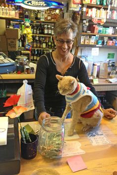 Lauri Stec with Mayor Stubbs at Nagley's General Store in Talkeetna, Alaska. Talkeetna, with a...