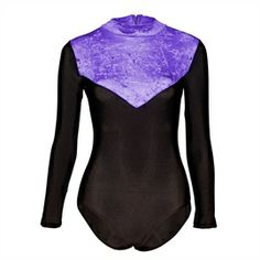 Starlite Velvet Toto Dance Leotard. Black, long sleeve leotard with a crushed velvet bodice and keyhole back. Colours available - Carnation, Delphinium, Flo Pink, Red, Royal Blue, Turquoise. www.dancinginthestreet.com