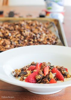 This Peanut Butter Granola is the perfect breakfast treat. It tastes like dessert, and it's gluten-free, dairy-free, vegan, refined sugar-free, and absolutely delicious!