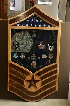 Custom made solid oak with walnut Air Force stripes military retirement shadow box.  $350 If you are interested in a military shadow box, a flag case, a coin holder, or anything else, don't hesitate to hit me up at jenkswood@gmail.com or by phone at 719-359-0361.  Thanks, Tom Coin Holder Military, Military Shadow Box, Military Wife, Military Retirement Parties, Retirement Cakes, Retirement Ideas, Marine Costume, Amazing Nature Photos, Rotc