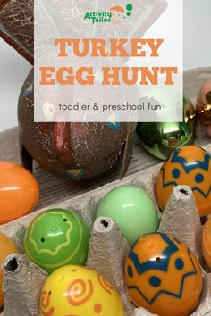 Toddlers and preschoolers will love having turkey egg hunt for Thanksgiving! This easy activity can be used to encourage first words and early language skills. It's a simple tradition you can use throughout November!