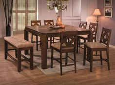 Antoine 6 Pc Counter Height Set Table Bench And 4 Chairs Coaster