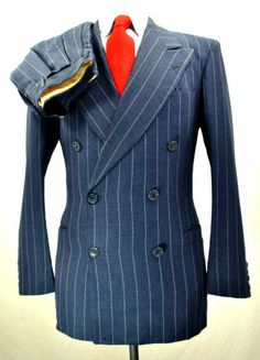 874351d159c4 Vtg 1930 s Bespoke Navy Chalk Stripe Gabardine Suit Slim 36R 30x30 Small  1940s   eBay Vêtements