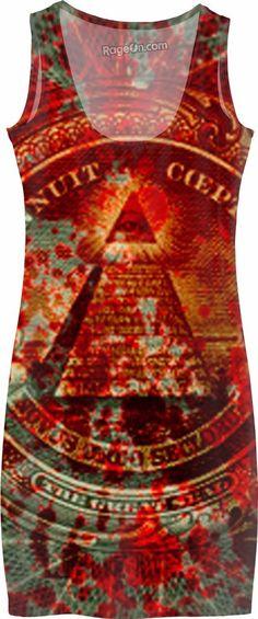 Blood Money Dress Clothing Money Dollar Green Paper Pyramid Red USA Patriot Illuminati All Seeing Eye Finance Hip Hop Japan Street Wear Style Music 13 Freemason Conspiracy Greed