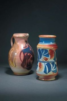 An earthenware jug by Alan Caiger Smith, ovoid form with strap handle painted with abstract panels in shades of sand, blue and purple lustre on a pink ground painted marks Aldermaston Pottery Craig Smith, Earthenware Clay, Purple, Pink, Blue, Pottery Art, Luster, Shades, Handle