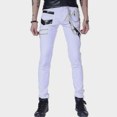 Men's Trousers Puck Style Slim Fit Skinny Jeans Long Pants Trousers Bottoms Straight Motorcycle Jogger Hip Hop Street Pants New Motorcycle Jeans, Biker Jeans, Buy Jeans Online, Black Skinny Pants, Skinny Jeans, Slim Waist, Trouser Pants, Long Pants, Punk Fashion