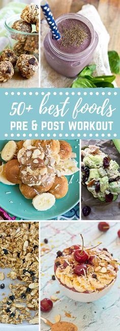 """The burning sports nutrition question answered, """"What should I eat before and after a workout?"""" A round up of 50 plus best foods to eat before and after a workout from @kristinalaruerd"""
