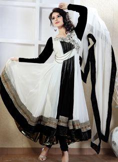 $202 Astounding Off White Georgette Long Anarkali Suit