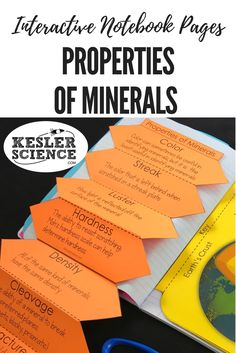 Properties of minerals accordion foldable worksheet, perfect for an Earth Science lesson. Teach vocabulary words luster, streak, cleavage, fracture, density, color, hardness. Turn science notebooks into a fun interactive activity, and hands-on learning experience for your upper elementary or middle school students! Grades 4th 5th 6th 7th 8th 9th