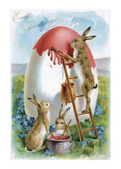 Easter Greetings in German, Rabbits Painting an Egg - Vintage Artwork Giclee Art Print, Gallery Framed, Black Wood), Multi Images Vintage, Vintage Artwork, Vintage Cards, Vintage Postcards, Easter Art, Hoppy Easter, Easter Bunny, Easter Eggs, Easter Vintage
