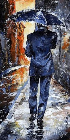 Rain Print featuring the painting Rain Day #20 by Emerico Imre Toth