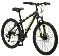 Mongoose Excursion Mountain Bike, 24-inch wheel, 21 speeds, black / yellow The Mongoose Excursion mountain bike was built for big adventures. It comes complete with a steel mountain bike frame and a front suspension fork that are perfect for rugged trail rides. The 21-speed twist shifters make it easy to adapt to your terrain, while […] Boys Mountain Bike, Hardtail Mountain Bike, Mountain Bike Frames, Mountain Biking, Mongoose Bike, Mongoose Mountain Bike, Bmx Bikes, Cool Bikes, Specialized Mountain Bikes