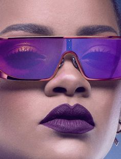 9684051c7fad Photo rihanna christian dior sunglasses purple fashion Smokey Eye Red Lips