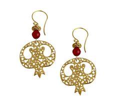 Sterling Silver 24k Gold Plated Pomegranate Handmade Earrings by KhotanDesign on Etsy