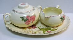 Vintage Cavitt-Shaw Division W.S George Sugar and Creamer Set on French Saxon China Co Serving Platter Pink Rose Shabby Chic by WallflowerAntiques on Etsy