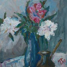 """Saatchi Art Artist Tetyana Snezhyk; Painting, """"Peonies still life"""" #art"""