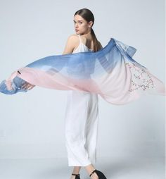 >> Click to Buy << Embroidered gradient mulberry silk scarves wool blended stitch long section scarf Plus Size Shawls Long Beach Cover-ups women #Affiliate