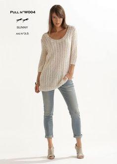 Pull léger tricoté dans la qualité SUNNY aux aiguilles 3,5. Idéal pour le printemps !