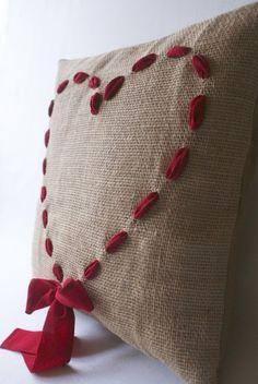 Heart Burlap Pillow