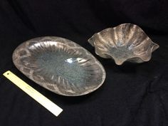 "NICE LOT OF TEXTURED GLASS RUFFLED BOWL AND SECTIONED TRAY. HAS SILVER OVERLAY DESIGN. TRAY MEASURES 18"" LONG BY 12"" WIDE AND BOWL MEASURES 12"" WIDE"