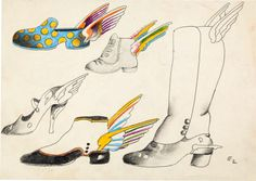 animation art:Model Sheet, Beatles Yellow Submarine Flying Shoe Model Sheet by HeinzEdelmann (United Artist/King Features, 1968).... Image #...