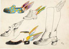 animation art:Model Sheet, Beatles Yellow Submarine Flying Shoe Model Sheet by HeinzEdelmann (United Artist/King Features, 1968).... Image #...