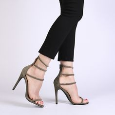 Nikki Strappy Stilettos in Khaki Faux Suede