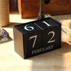 European Style Retro Living Room Ornaments Home Decor Creative Calendar Calendar Wood DIY Yearly Planner Calender Deco Bureau
