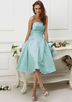 #bridesmaid A-line Strapless Ruched Taffeta Knee-length Party Dress at Millybridal.com
