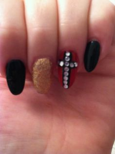 Red black gold cross point nails