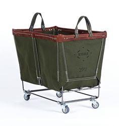 2-1/2 Bushel Steele Canvas Laundry Bin Olive Canvas with Brown Leather Trim