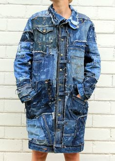 Denim jacket patches - Steampunk jeans long jacket from recycled denim with 22 pockets for man and woman size M – Denim jacket patches Hipster Grunge, Style Grunge, Soft Grunge, Long Denim Jacket, Denim Jacket Patches, Denim Coat, Tokyo Street Fashion, Jeans Refashion, Estilo Jeans