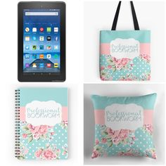 Enter this giveaway for a chance to win a Kindle Fire 7 and a Professional Bookworm tote bag, pillow and notebook set designed by Books...