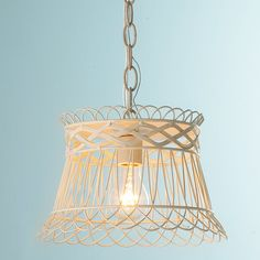 Vintage Wire Basket Pendant Light antique_white