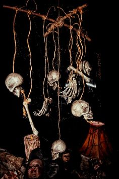 HF member skeleton mobile Halloween prop for voodoo or witch scene