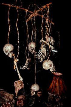 HF member skeleton mobile Halloween prop for voodoo or witch scene