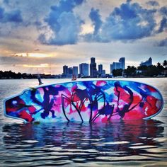Rubio surfboard standup paddleboard. Beautiful Miami skyline! what more can you ask for???