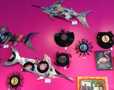 We still love these fun and funky record clocks…something for everyone! And check out Jessy Davis Art's swordfish! Elfish Presley…Jeff Gordfish… perfect for the man cave, game room, etc. smile emoticon