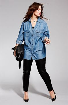 Nordstrom: denim big shirt, black everything else.