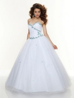 Ball Gown Sweetheart Tulle Satin Floor-length Rhinestone Quinceanera Dresses