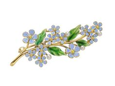 "True Blue: Forget-Me-Not Enamel Brooch. Nicely sized, this 14k yellow gold brooch displays a floral spray of forget-me-nots. Symbolizing ""true blue"", faithful love and memories, a grouping of small opaque blue enamel blossoms and translucent green leaves are accented with four cultured pearls. The horizontal profile of the brooch allows a full perspective of the motif. Circa 1920. http://www.georgianjewelry.com/items/show/16249-true-blue-forget-me-not-enamel-brooch"