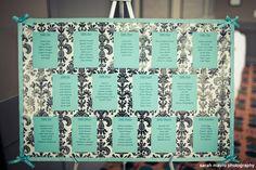 Damask & Tiffany Blue seating chart #Tiffany #Seating Chart #Damask #wedding