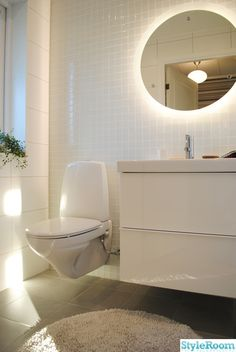 The light around the mirror makes all the difference in this bathroom Small Space Bathroom, Bathroom Spa, Bathroom Renos, Laundry In Bathroom, Bathroom Renovations, Bathroom Furniture, Bathroom Interior, Interior Design Living Room, Bad Inspiration