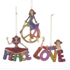 """$119.99-$149.99 From the Flower Power Collection Item #C8115  Each vibrant ornament features a cheerful flower child, who sits atop either the word """"Peace,"""" """"Love,"""" or a peace symbol Fully dimensional ornaments Ornaments come ready-to-hang on gold cords  Dimensions: 4""""H Material(s): resin  Pack of 12 - includes 4 of each ornament shown"""