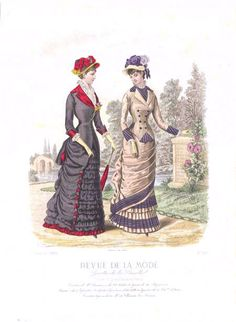 Fashion plate, 1880 France, Revue de la Mode