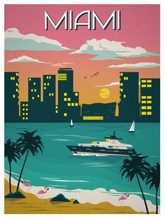 Vintage Travel Image of Vintage Miami Travel Poster - Size - Digital Print on 80 lb cover matte white *SHIPPING DETAILS* Items will be mailed out in tubes within 3 days after order. Poster Retro, Poster S, Vintage Travel Posters, Poster Prints, Miami Art Deco, Photo Vintage, Vintage Art, Vintage Room, Florida Travel