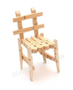 Clothespins Chair (Doll Furniture) Craft - How to Make Handmade Toys for Children Handmade - Home & Kitchen - Furniture - handmade furniture - http://amzn.to/2ksLfE7